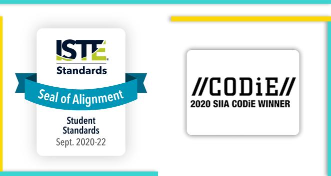 Aligned to ISTE Standards - 2020 CODiE Award Winner