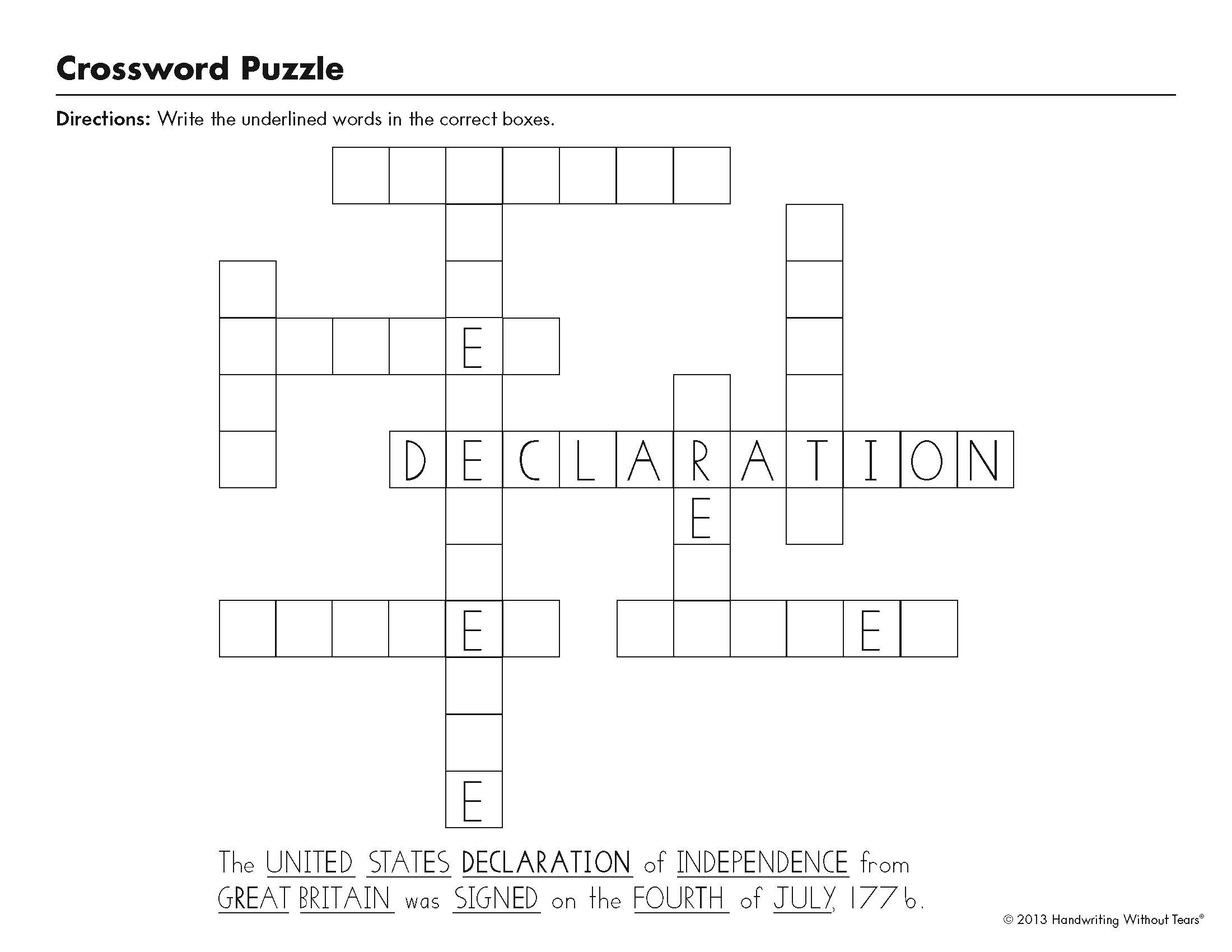Independence Day Puzzles for Grades 1-5