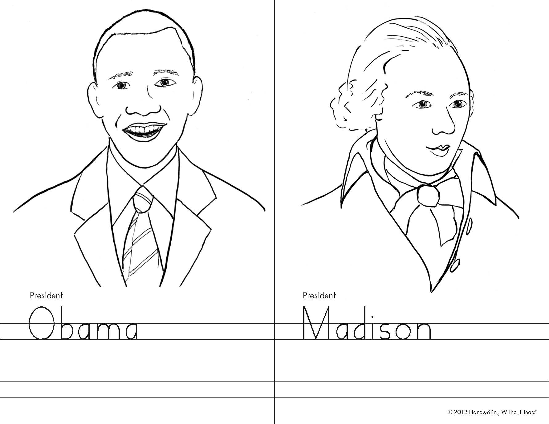 Kindergarten Famous Faces - Obama and Madison