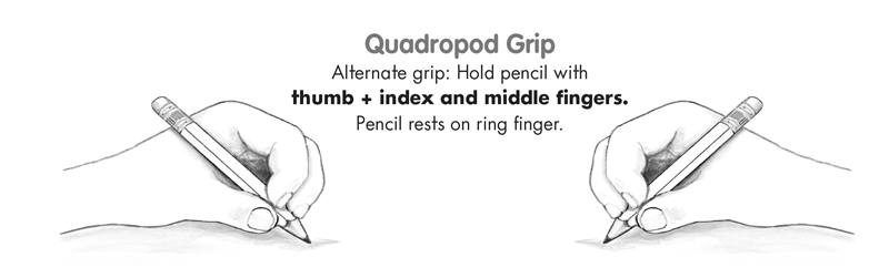 Illustration of the quadropod pencil grip and grasp