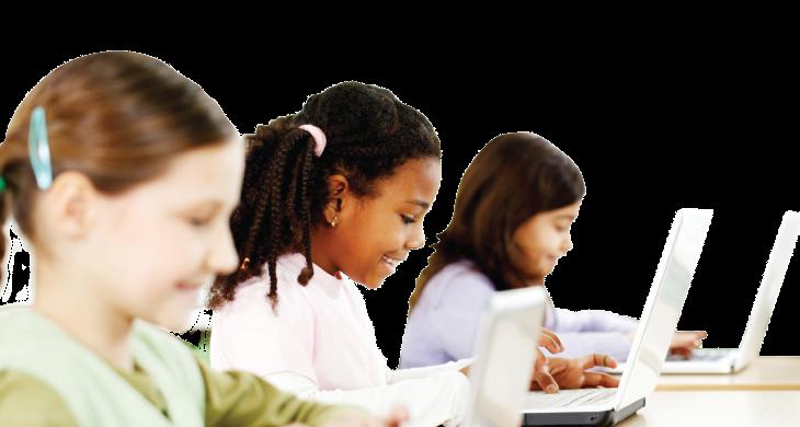 Three students use laptops