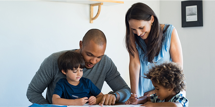 Family works together at home